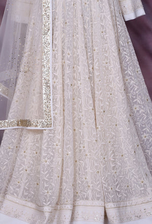 White Designer Party Wear Dress - Desi Royale