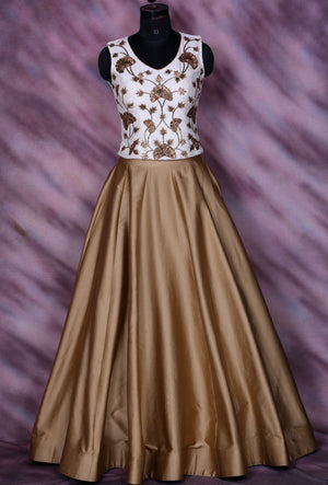 Bronze Designer Party Wear Dress - Desi Royale