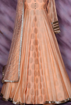 Peach Designer Party Wear Dress - Desi Royale