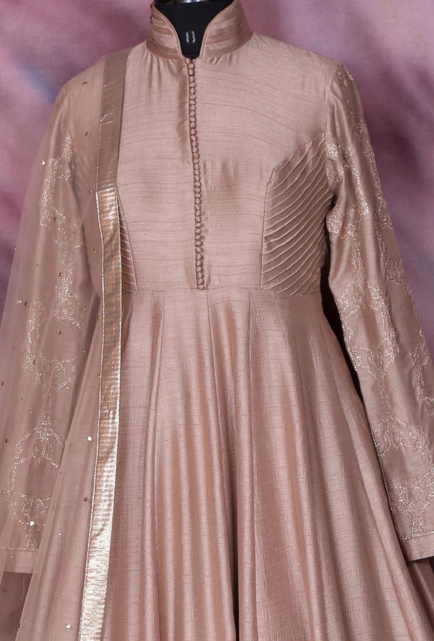 Beige Designer Party Wear Dress - Desi Royale