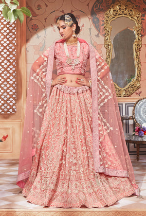 Baby Pink Lehenga Party Dress - Desi Royale