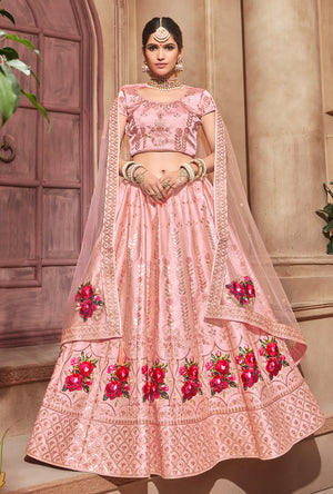Peach Lehenga Wedding Dress - Desi Royale