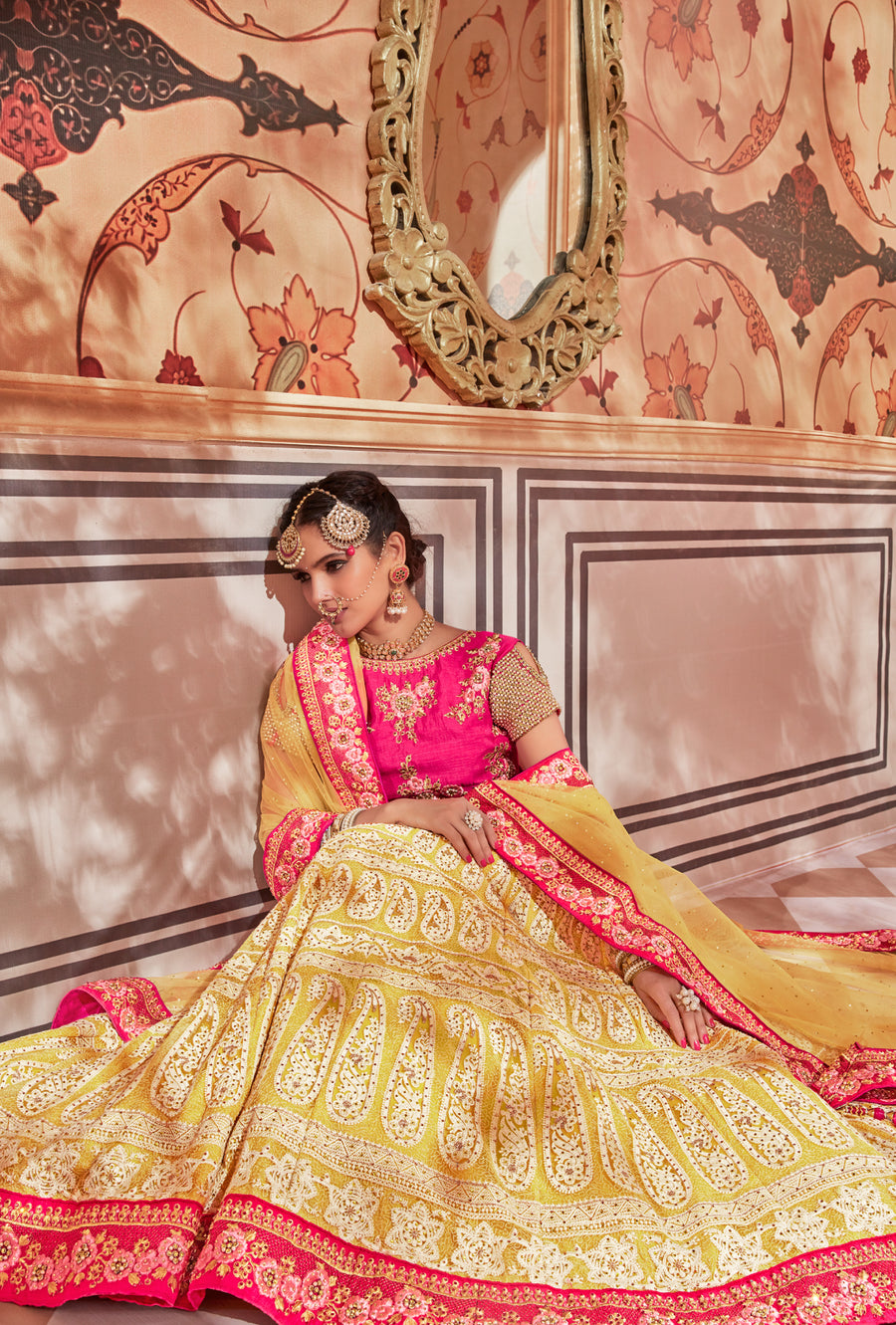 Yellow and Pink Lehenga Dress - Desi Royale
