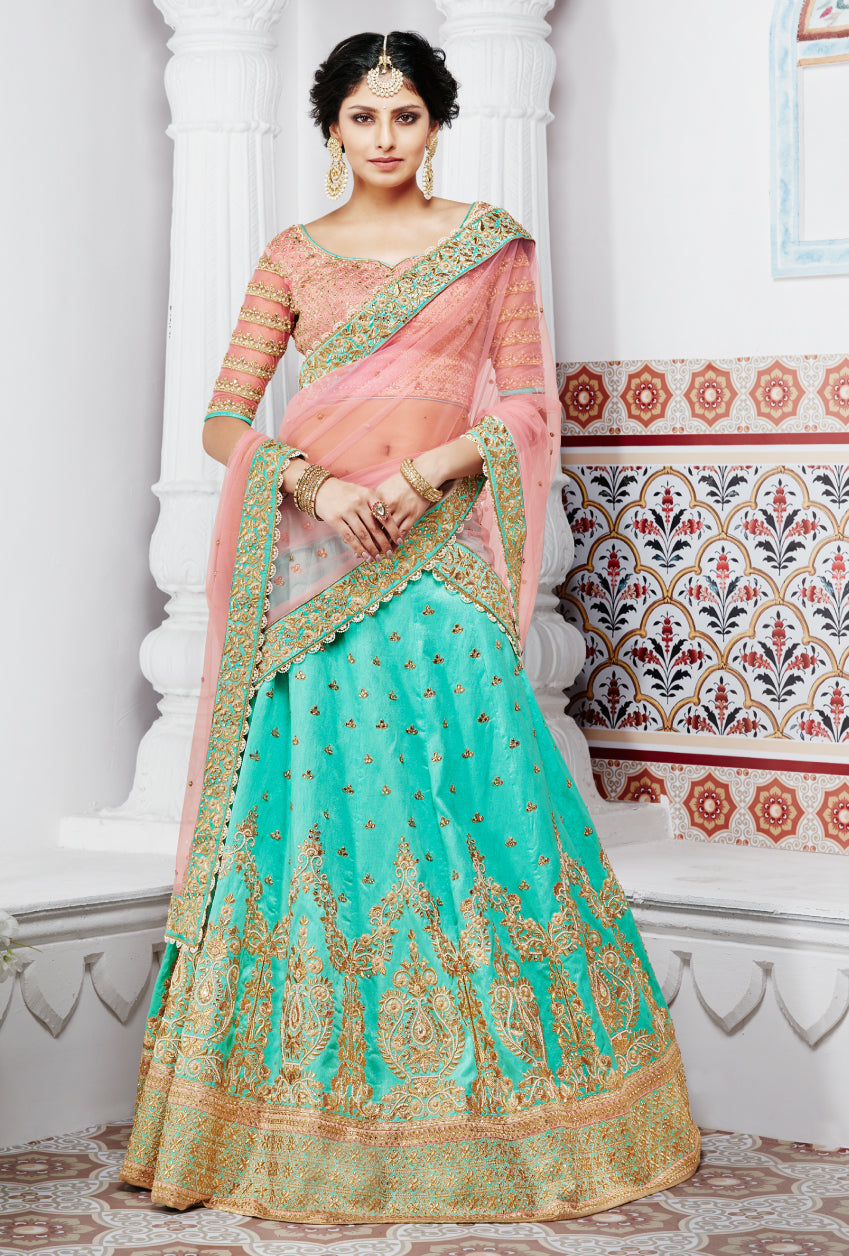 Turquoise and Pink Designer Party Wear Lehenga Set
