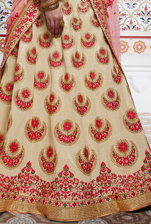 Beige Designer Party Wear Lehenga Set - Desi Royale