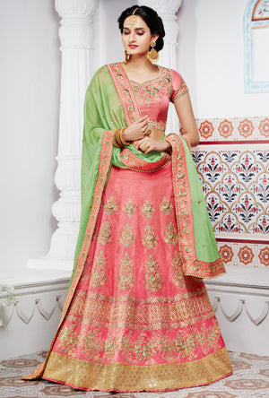 Pink Designer Party Wear Lehenga Set - Desi Royale