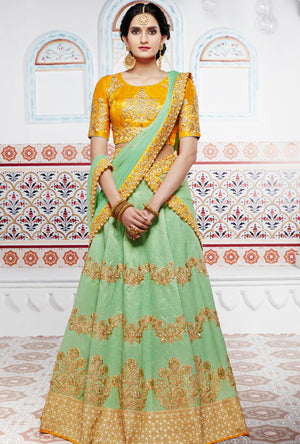 Yellow And Green Designer Party Wear Lehenga Set - Desi Royale