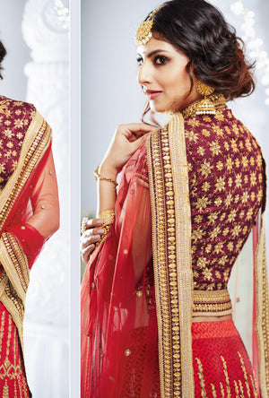 Red And Maroon Designer Party Wear Lehenga - Desi Royale