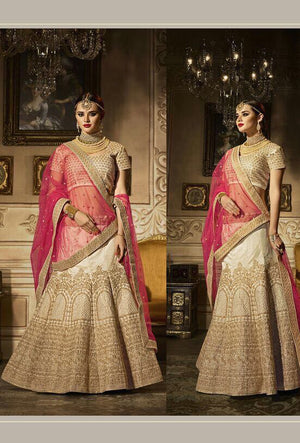 Beige Designer Wedding Lehenga Set - Desi Royale