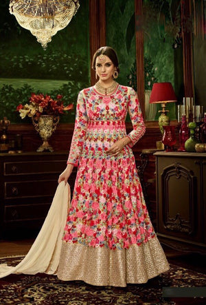 Pink Designer Party Wear Anarkali Suit - Desi Royale