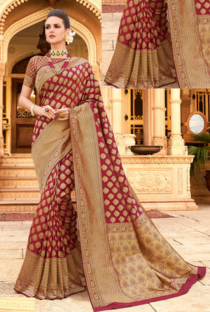Maroon Silk Saree - Desi Royale