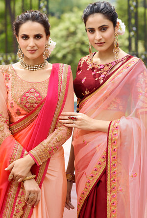 Maroon and Pink Designer Saree - Desi Royale