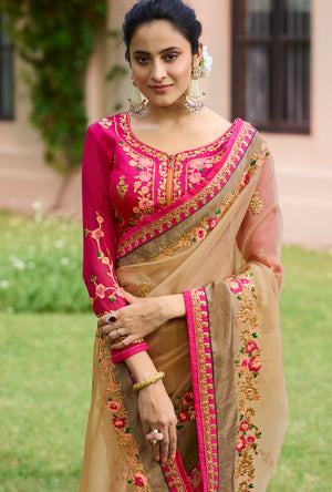 Cream and Pink Designer Saree - Desi Royale