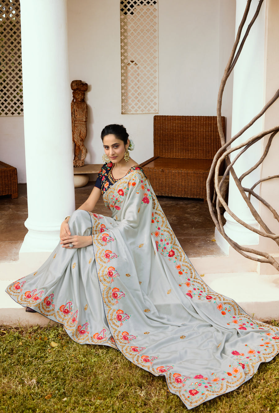 Grey and Blue Designer Saree - Desi Royale