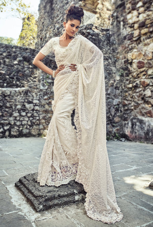 White Embroidered Saree - Desi Royale