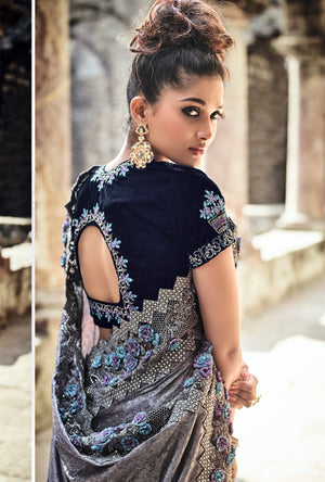 Grey Embroidered Saree - Desi Royale
