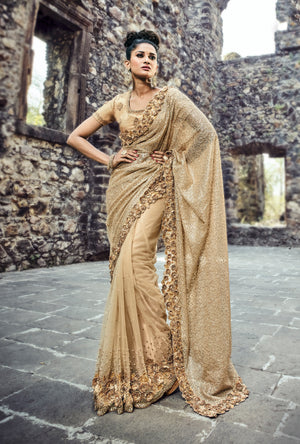 Beige  Embroidered Saree - Desi Royale