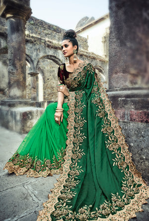 Green And Maroon Embroidered Saree - Desi Royale