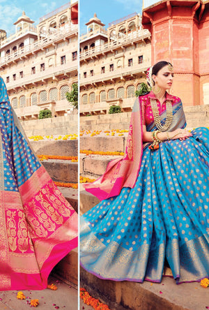 Blue And Pink Designer Varanasi Saree - Desi Royale