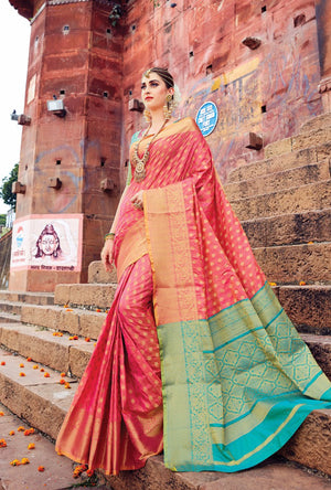 Red And Green  Designer Varanasi Saree - Desi Royale