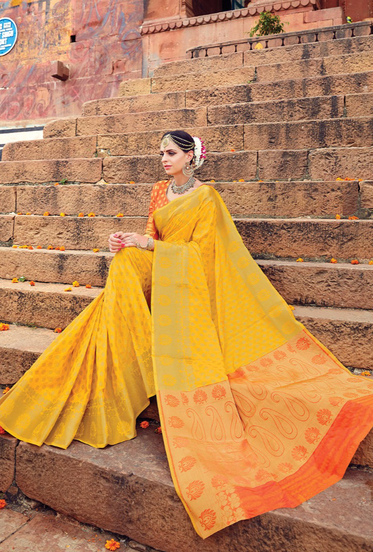 Yellow And Orange Designer Varanasi Saree - Desi Royale