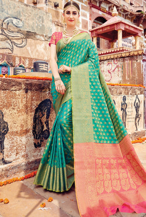 Green And Pink Designer Varanasi Saree - Desi Royale