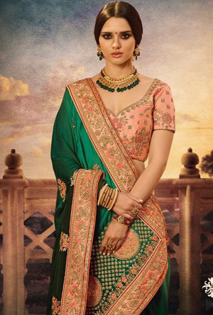 Peach And Green Designer Party Wear Saree - Desi Royale