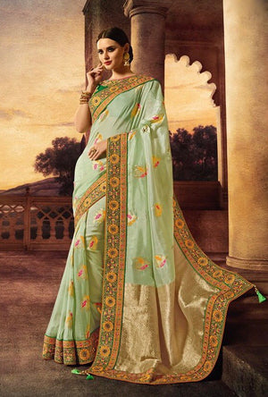 Green Designer Party Wear Saree - Desi Royale