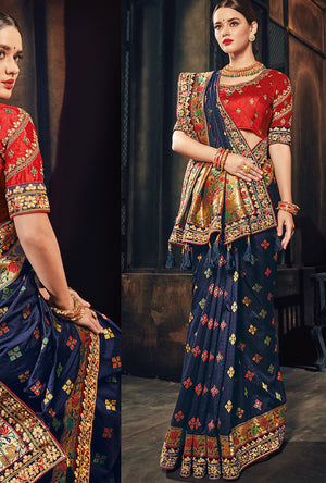 Blue And Red Designer Party Wear Saree - Desi Royale