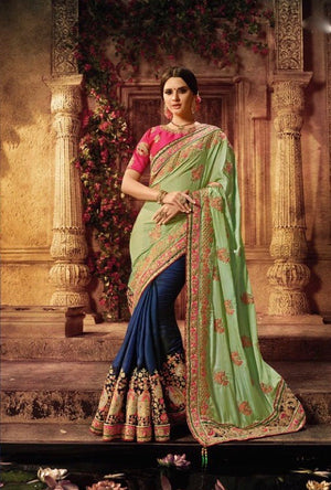 Pink, Green And Blue Designer Party Wear Saree - Desi Royale