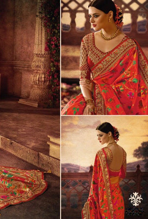 Orange Designer Party Wear Saree - Desi Royale
