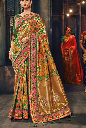 Green And Bronze Designer Party Wear Saree - Desi Royale