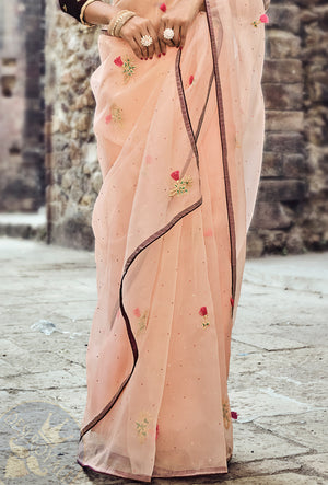Peach And Maroon Net Saree - Desi Royale