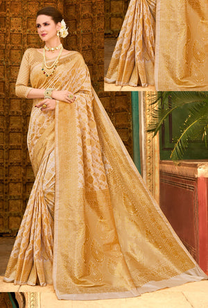 Gold Silk Saree - Desi Royale