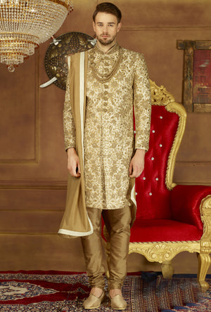 Cream Mens Sherwani - Desi Royale