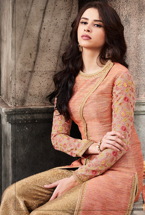 Peach And Beige Designer Embroidered Suit - Desi Royale