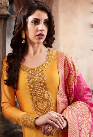 Yellow And Pink Designer Embroidered Suit - Desi Royale