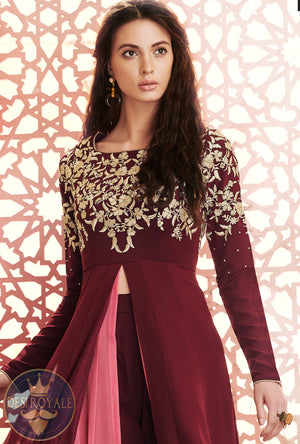 Purple embroidered Dress - Desi Royale