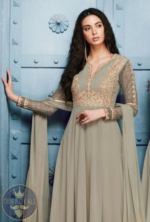 Grey Designer Dress - Desi Royale