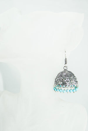 Black metal earrings with blue beads - Desi Royale