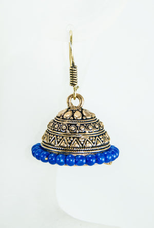 Gold metal earrings with blue beads - Desi Royale