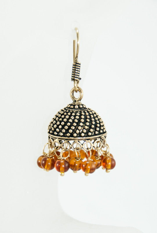 Gold domed earrings with mustard beads - Desi Royale
