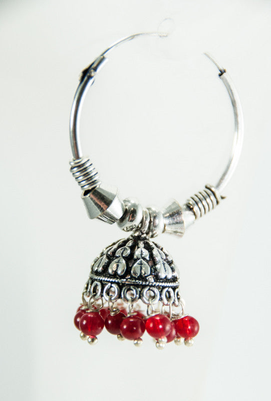Jhummar black metal Earrings with red beads - Desi Royale
