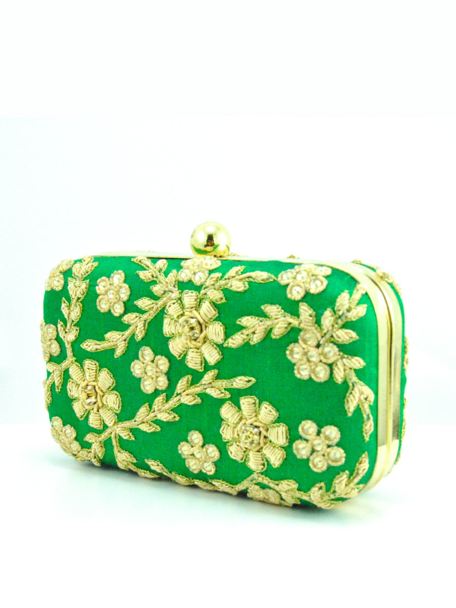Green Zardozi Flower Clutch - Desi Royale