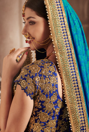 Blue Designer Party Wear Saree - Desi Royale