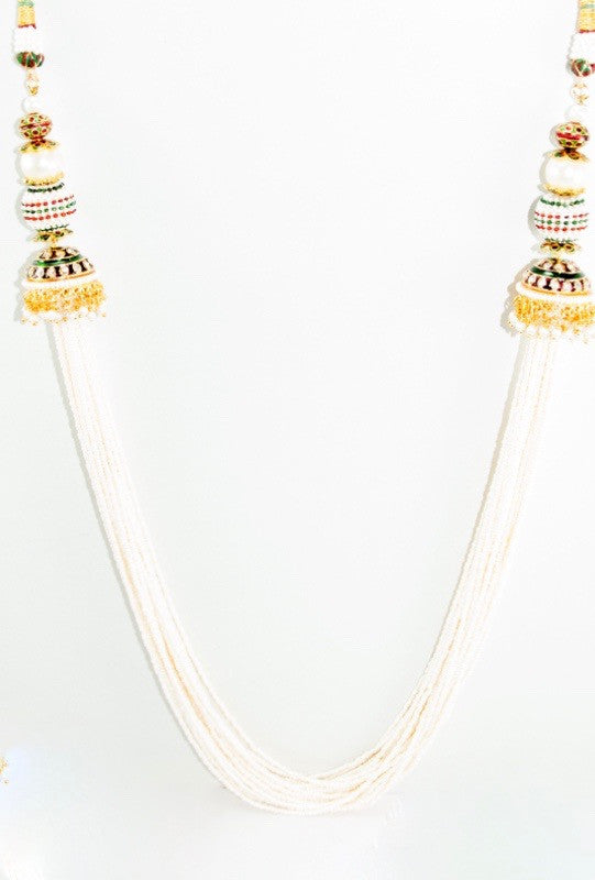 Laboni Necklace Set With Antique Jadau Work - Desi Royale