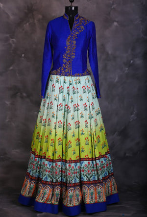 Blue designer indian dress with dupatta - Desi Royale