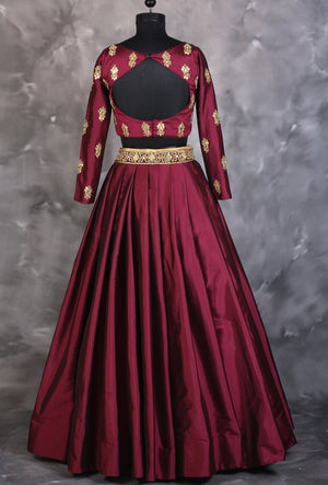 Maroon designer indian dress with dupatta - Desi Royale