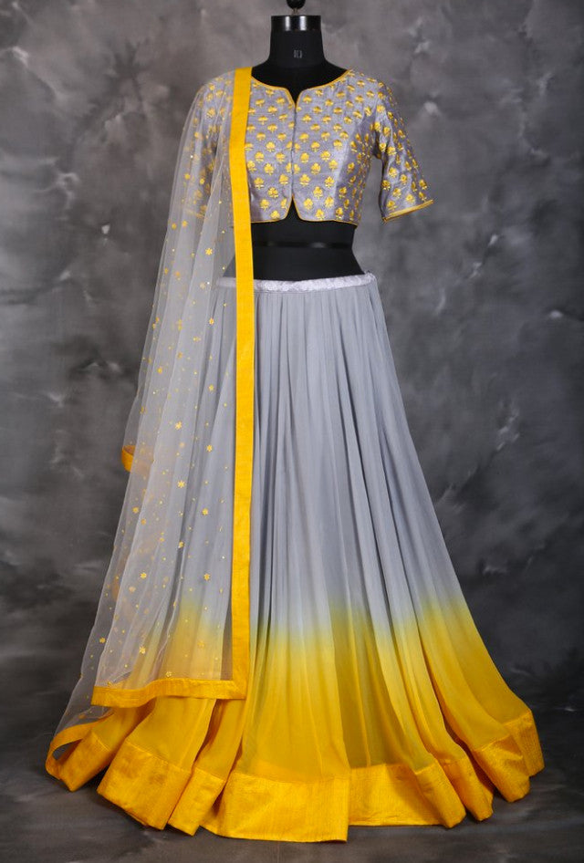 Grey and Yellow designer indian dress with dupatta - Desi Royale