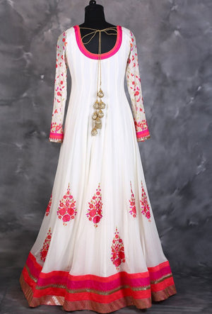 Offwhite and pink designer indian dress with dupatta - Desi Royale